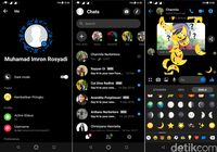 Tampilan dark mode terbaru di Facebook Messenger.