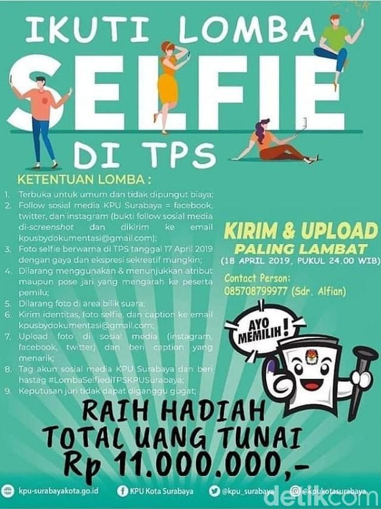 KPU Surabaya Gelar Lomba Selfie di TPS Berhadiah Total Rp 11 Juta