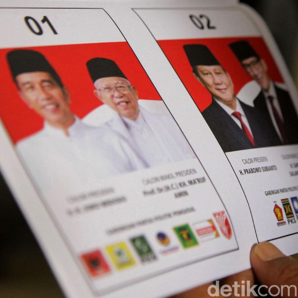 Real Count KPU 20%: Jokowi-Amin 55,1% Prabowo-Sandi 44,9%