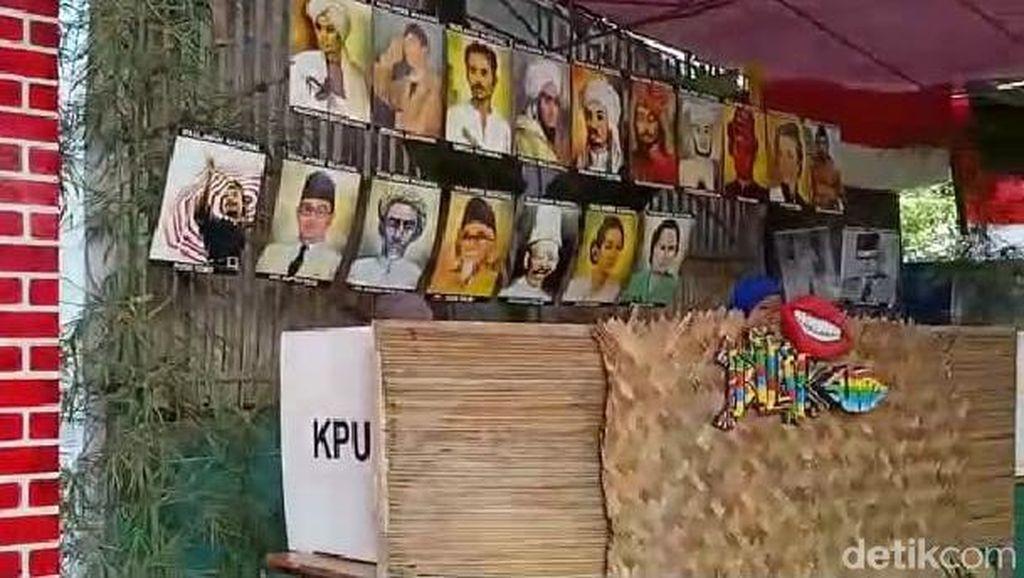 Jokowi Ungguli Prabowo di TPS Karawang Bertema Pahlawan