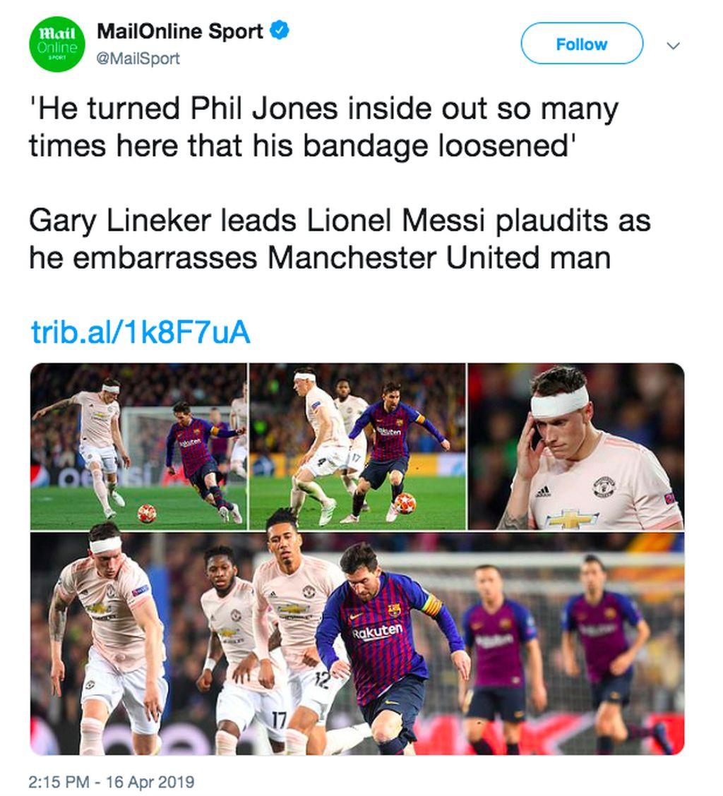 Dalam berita di Daily Mail, Gary Lineker sampai berkomentar bahwa bandana Jones sampai longgar saking dia kewalahan menghadapi Lionel Messi. Foto: istimewa
