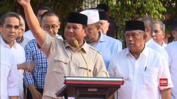 Capres nomor urut 02 Prabowo Subianto mengklaim kemenangan pada Pilpres 2019 berdasarkan hasil 'real count' internalnya.