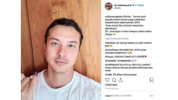 'Selfie' Nicholas Saputra 'Segarkan' Pemilu 2019