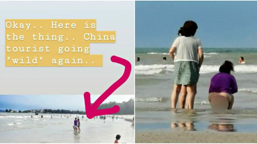 Publik Malaysia dibuat berang atas ulah turis wanita yang diklaim berasal dari China. Ia kedapatan buang air besar di Pantai Port Dickson, Malaysia beberapa waktu lalu (@zudomon/Twitter)