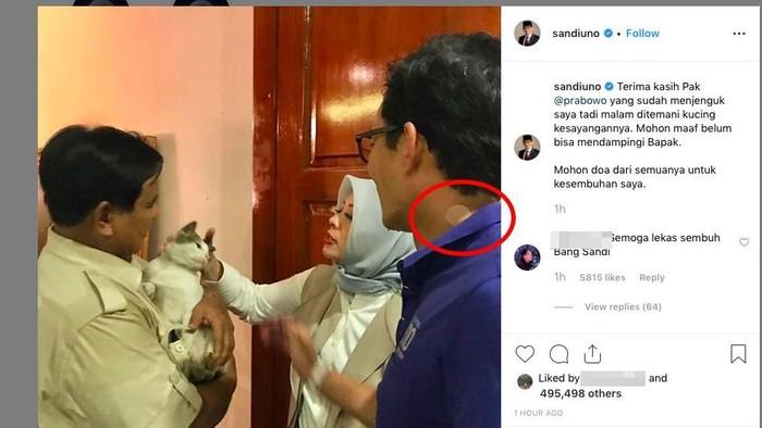 Beberapa netizen mempertanyakan benda mirip koyo yang menempel di leher Sandiaga. (Foto: Screenshot Instagram @sandiuno)