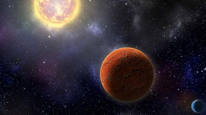 Ilustrasi HD 21749c, planet seukuran Bumi pertama yang ditemukan oleh Satelit Transit Exoplanet Survei NASA, serta saudara kandungnya, HD 21749b, berukuran sub-Neptunus. Foto: Robin Dienel, courtesy of the Carnegie Institution for Science