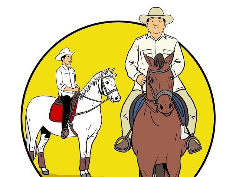 Bergaya Koboi, Jokowi dan Prabowo Kompak Berkuda di Ilustrasi Ini