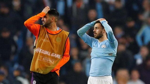 Manchester City disingkirkan Tottenham Hotspur di perempat final Liga Champions. (