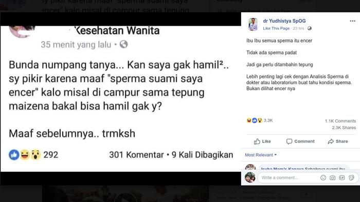 Air mani yang encer bukan penentu kualitas sperma. (Foto: Screenshot Facebook dr Yudhistya SpOG)