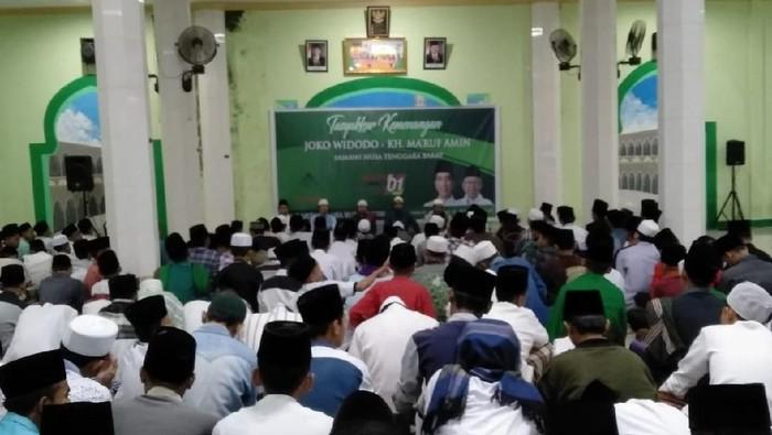 Foto: Suasana tasyakuran di Ponpes Darul Falah NU Pagutan, Kota Mataram (Harianto-detikcom)..