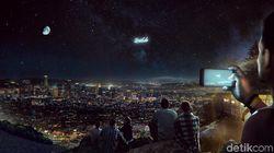 Bulan dan Bintang di Langit Malam Bisa Ditemani Iklan