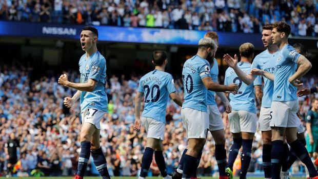 Manchester City saat mengalahkan Tottenham Hotspur 1-0. (