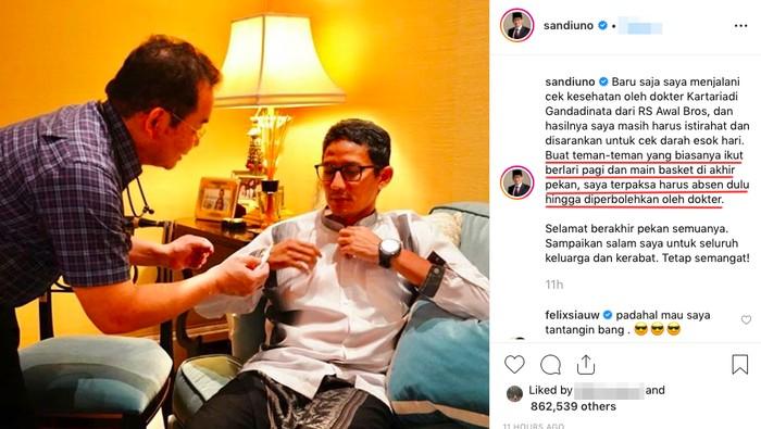 Sandiaga Uno absen olahraga (Foto: instagram)
