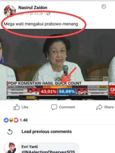 Postingan hoax seolah Megawati mengakui klaim kemenangan Prabowo.