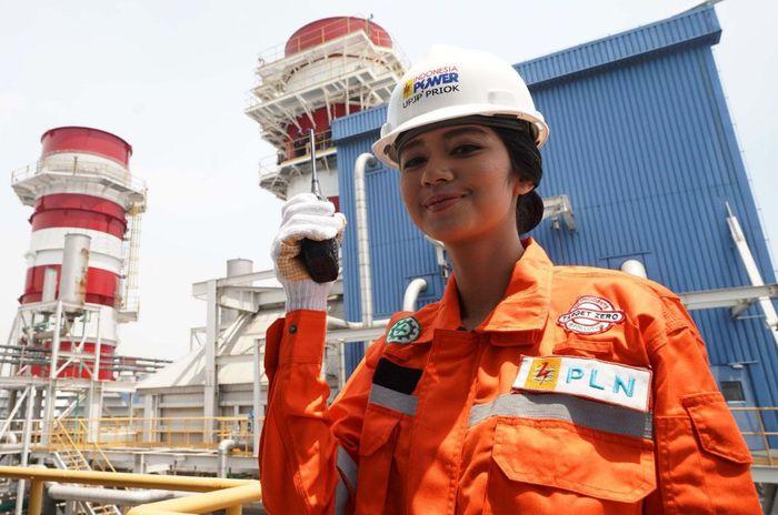 Seorang pegawai PLN sedang mengecek pembangkit listrik milik PLN. Istimewa/PLN.