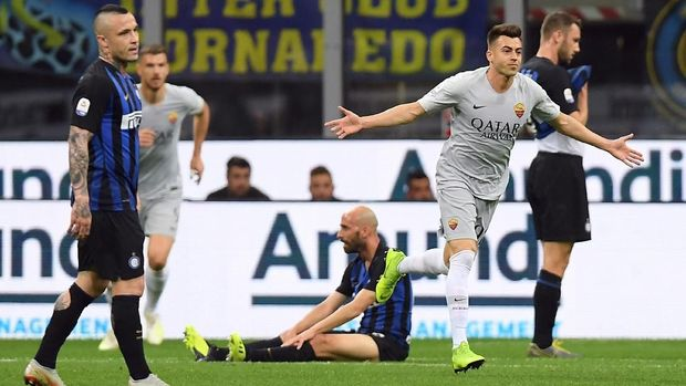 AS Roma sempat unggul 1-0 atas Inter Milan berkat gol Stephan El Shaarawy. (