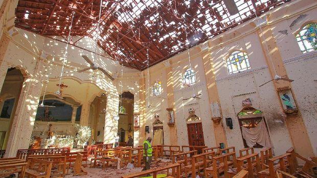 Kondisi salah satu gereja di Sri Lankar yang rusak karena bom.