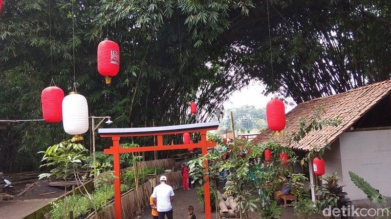 Tirta Kebon nDelik (TKD) ini lokasinya berada di Karang Kembang RT 01/RW 05, Pucang Gading, Desa Ngluwar, Kecamatan Ngluwar, Kabupaten Magelang. Gerbang tori khas Jepang akan menyambut kedatangan traveler (Eko Susanto/detikTravel)