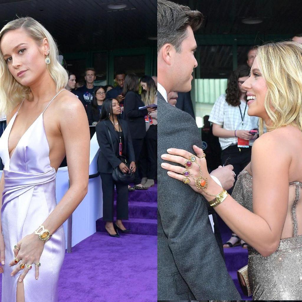 Brie Larson dan Scarlett Johansson tampil dengan Infinity Stones