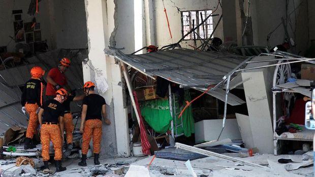 Gedung empat lantai di Porac, Filipina rusak akibat gempa bumi