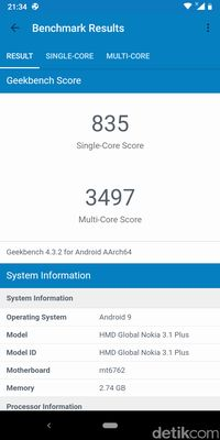 Hasil benchmark Nokia 3.1 Plus.