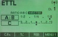 Pengaturan ST-E3 dengan channel 1 dan ratio A:B +C