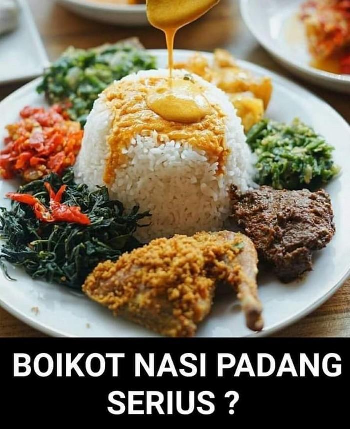 Boikot nasi Padang diserukan salah seorang netizen pendukung Jokowi usai mengetahui jagoannya kalah suara di Sumatera Barat. Ia ingin membalas kekalahan tersebut dengan mengajak orang-orang tak lagi makan nasi Padang. Foto: Twitter