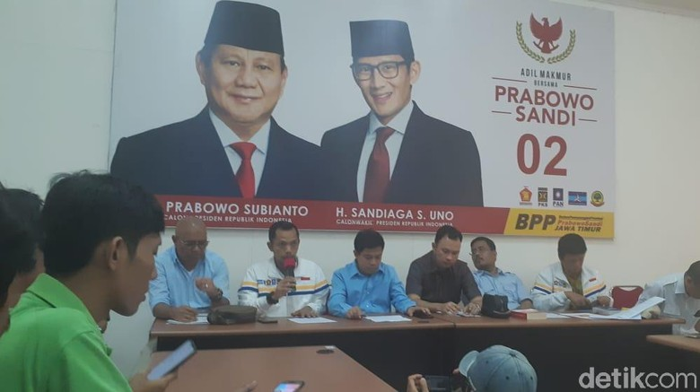 Prabowo-Sandi Menang di Data Internal BPN, BPP Jatim Ucapkan Selamat