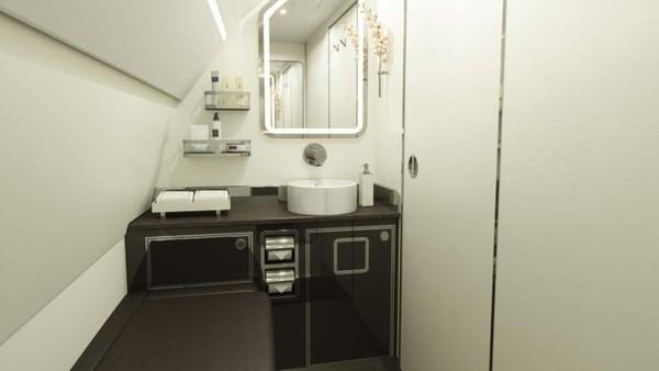 Karena akan terbang pada awal 2021, pesawat baru ini hanya ditampilkan dengan kabin terluas dan tertinggi di kelasnya. Tak lupa, ada fasilitas toilet dan area lounge yang luas pula (Four Seasons/CNN Travel)