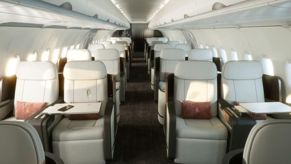 Four Seasons Jet 2.0 yang terbilang mutakhir ini memiliki ruang untuk 48 penumpang. Desain tata letaknya memastikan para tamu dapat bersosialisasi dengan mudah saat berada di kursi (Four Seasons/CNN Travel)