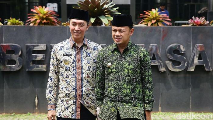 Wali Kota Bogor Bima Arya mendatangi kantor KPK, Jumat (26/4/2019). Bima ditemani wakilnya, Dedie A Rachim, serta jajaran Pemerintah Kota Bogor.