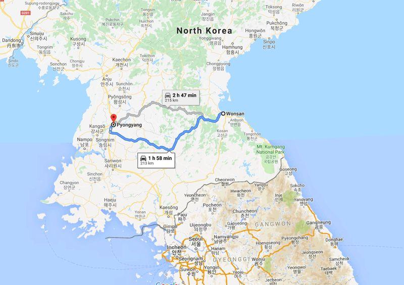 Wonsan merupakan nama kota pesisir di Korea Utara yang berhadapan dengan Laut Jepang. Kota ini bisa ditempuh sekitar 2 jam perjalanan darat dari Pyongyang, ibukota negara Korea Utara (Google Maps)