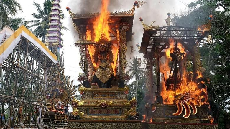 Ribuan warga mengiringi arak-arakan Bade atau menara bertingkat sembilan yang berisi jenazah anggota keluarga dari pahlawan nasional I Gusti Ngurah Rai dalam prosesi upacara Ngaben di Desa Carangsari, Badung, Bali, Senin (29/4/2019). Kremasi terhadap jenazah putra kedua dan cucu dari pahlawan nasional I Gusti Ngurah Rai tersebut diiringi oleh ribuan warga. ANTARA FOTO/Nyoman Hendra Wibowo/nym/foc.