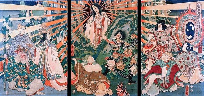 Lukisan tentang Dewi Matahari Jepang, Amaterasu, 1856. (Utagawa Kunisada/Wikimedia Commons)