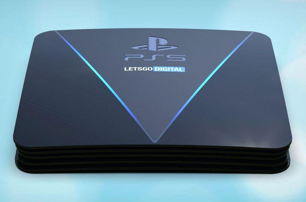PlayStation 5 (PS5) memang belum akan hadir tahun ini. Namun sejumlah bocorannya kian santer bertebaran. Yang terbaru adalah gambar render PS5 seperti di foto ini. Foto: LetsGoDigital