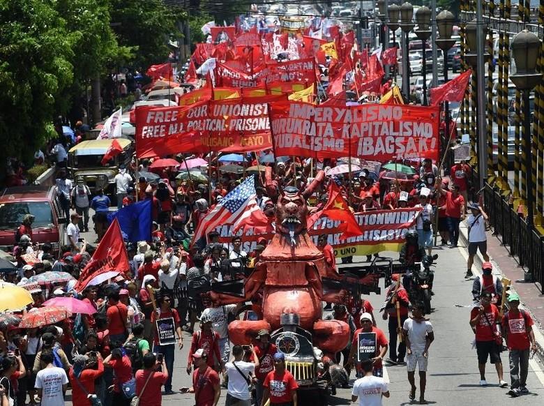 Peringati May Day di Filipina, Ribuan Demonstran Memprotes Duterte