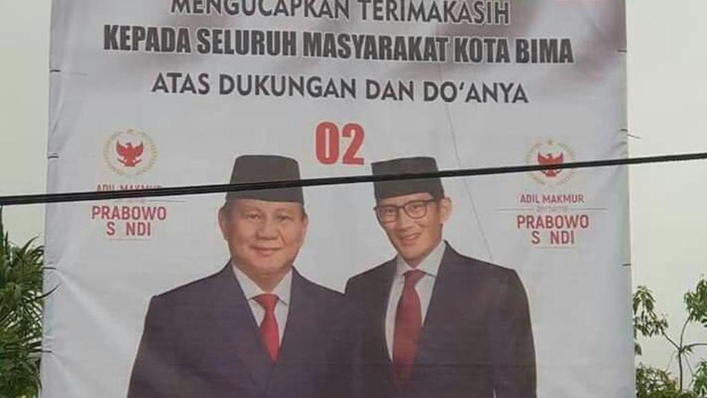 Tunggu Surat Bawaslu, Gerindra Siap Turunkan Baliho Klaim Kemenangan 02 di Bima
