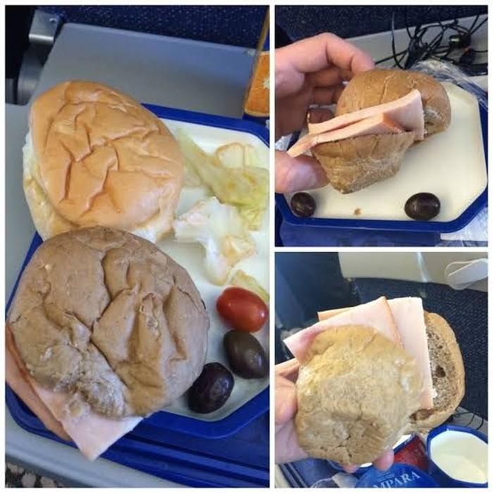 Disajikan hidangan burger. Penumpang yang satu ini malah dapat burger asal, yang disajikan dari roti bun dingin, irisan daging tipis, hingga sayuran yang sudah layu. Foto: Istimewa