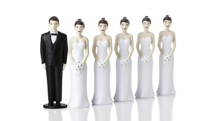 Grooms lined up to marry a bride