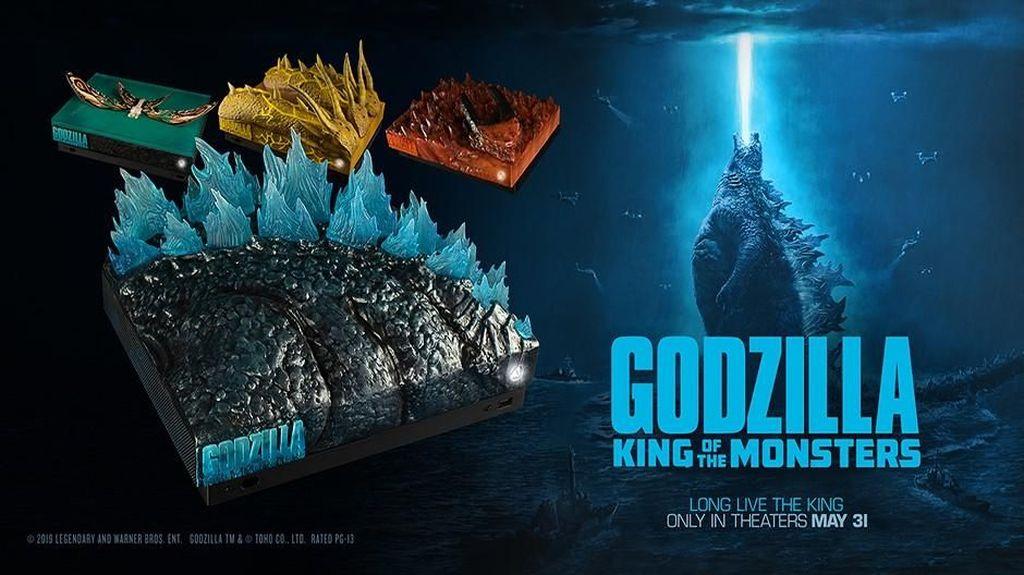 Xbox One X edisi spesial ini menampilkan empat monsten yang ada di film Godzilla: King of the Monsters.. (Foto: dok. Xbox)