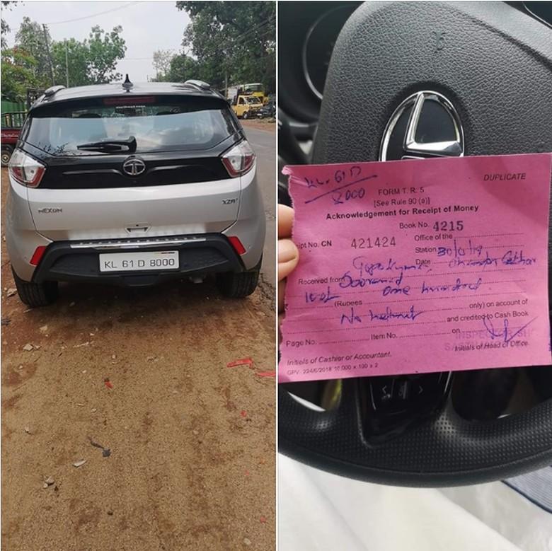 Pengemudi Mobil Ditilang karena Tak Pakai Helm. Foto: Istimewa
