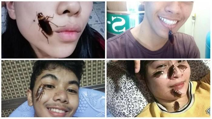 Challenge taruh kecoa di wajah. Foto: Tangkapan layar Facebook