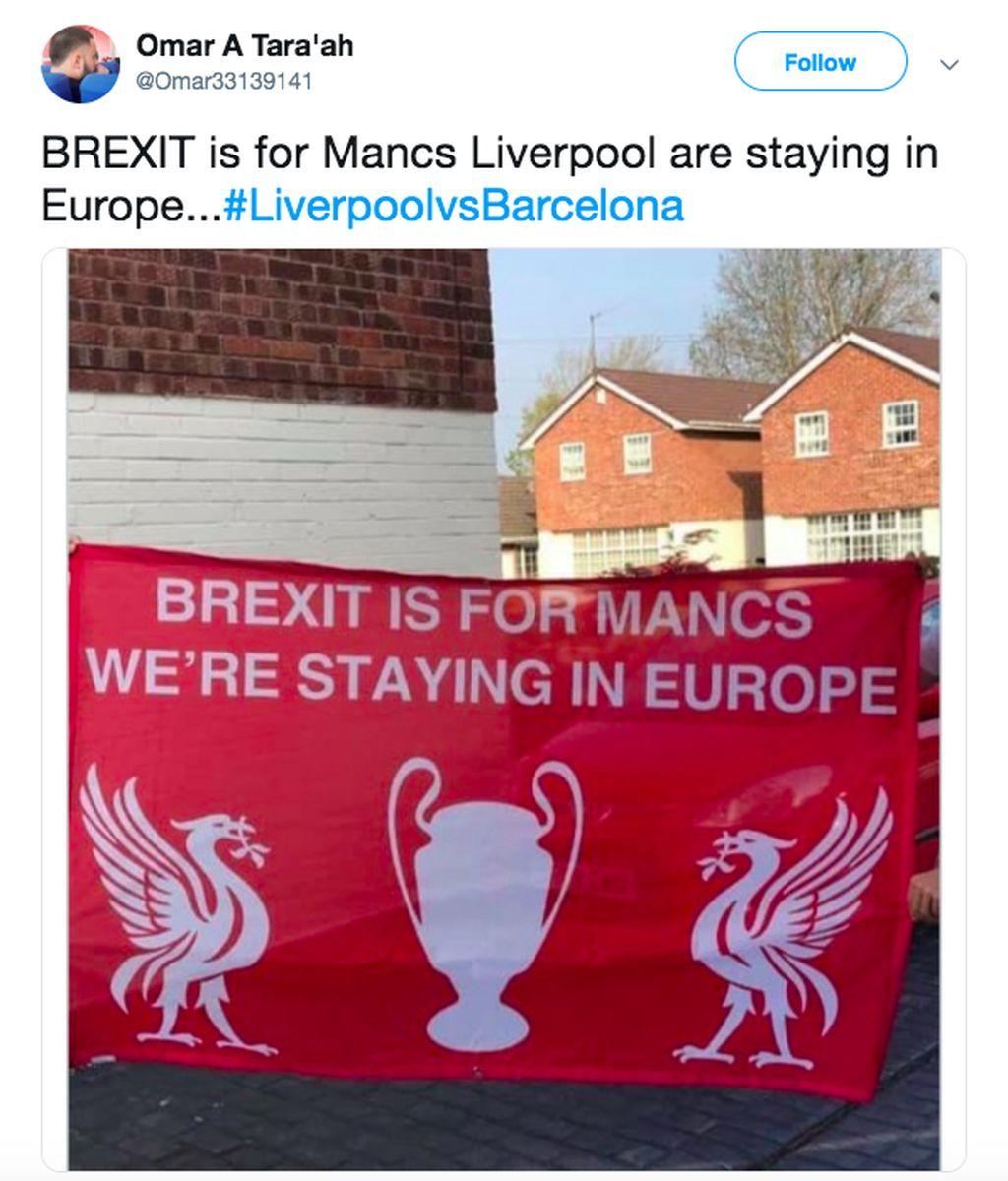 Brexit adalah untuk Manchester, kami tetap berada di Eropa tulis spanduk ini yang tentu menyindir Manchester United sang musuh bebuyutan. Foto: istimewa