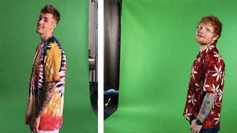 Justin Bieber dan Ed Sheeran Foto: Istimewa
