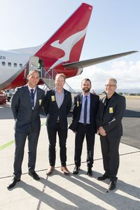 (ki-ka) Direktur SUEZ David Speirs Justin Frank, MP South Australian Environment & Water Minister, Andrew Parker dan Qantas Group Executive Government & Environment Gary Smith serta CEO BioPak (dok Qantas)