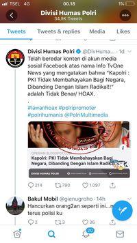 Blog yang menuliskan pemberitaan seolah-olah Kapolri menyebutkan bahwa PKI tidak membahayakan dipastikan hoax.