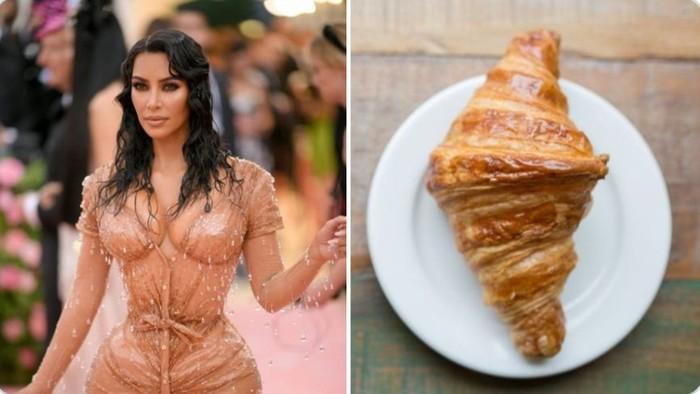 Gelaran Met Gala kemarin menyisakan banyak cerita seru. Netizen menunggu-nunggu tampilan aneh kostum seleb Hollywood. Salah satunya Kim Kardashian yang disamakan dengan croissant! Foto: Twitter @semangkasegar