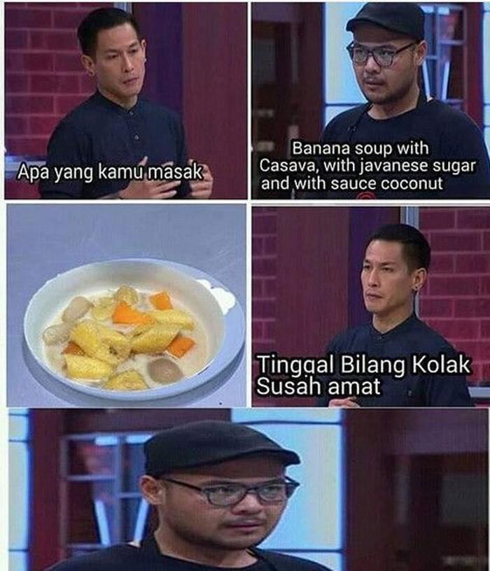 Besok kalau ada yang tanya buka pakai apa, bilang aja buka pakai Banana soup with casava, javanese sugar, and sauce coconut. Teman kamu dijamin kebingungan. foto: Istimewa