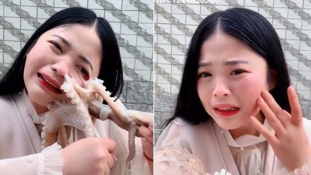 Wajah Bintang Mukbang Hampir Rusak Disedot Gurita yang Akan Dimakannya
