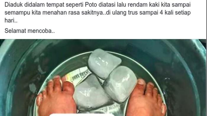 Asam urat bisa disembuhkan dengan ramuan minyak tanah di kaki? (Foto: Tangkapan layar Facebook)